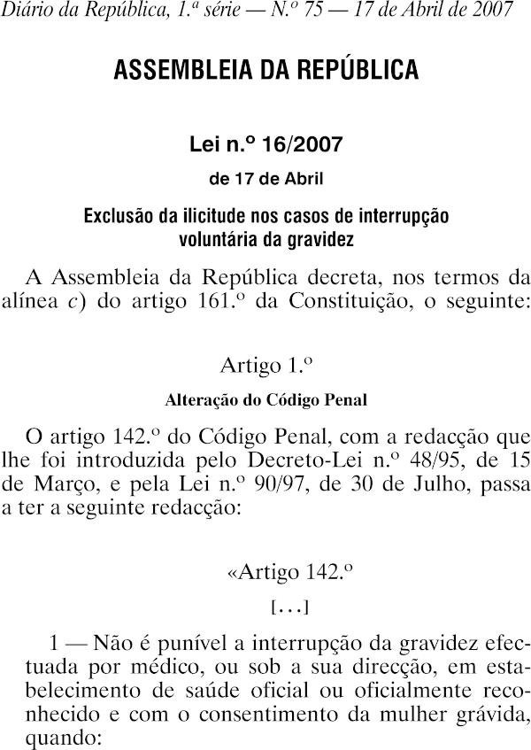 Lei no 16 2007